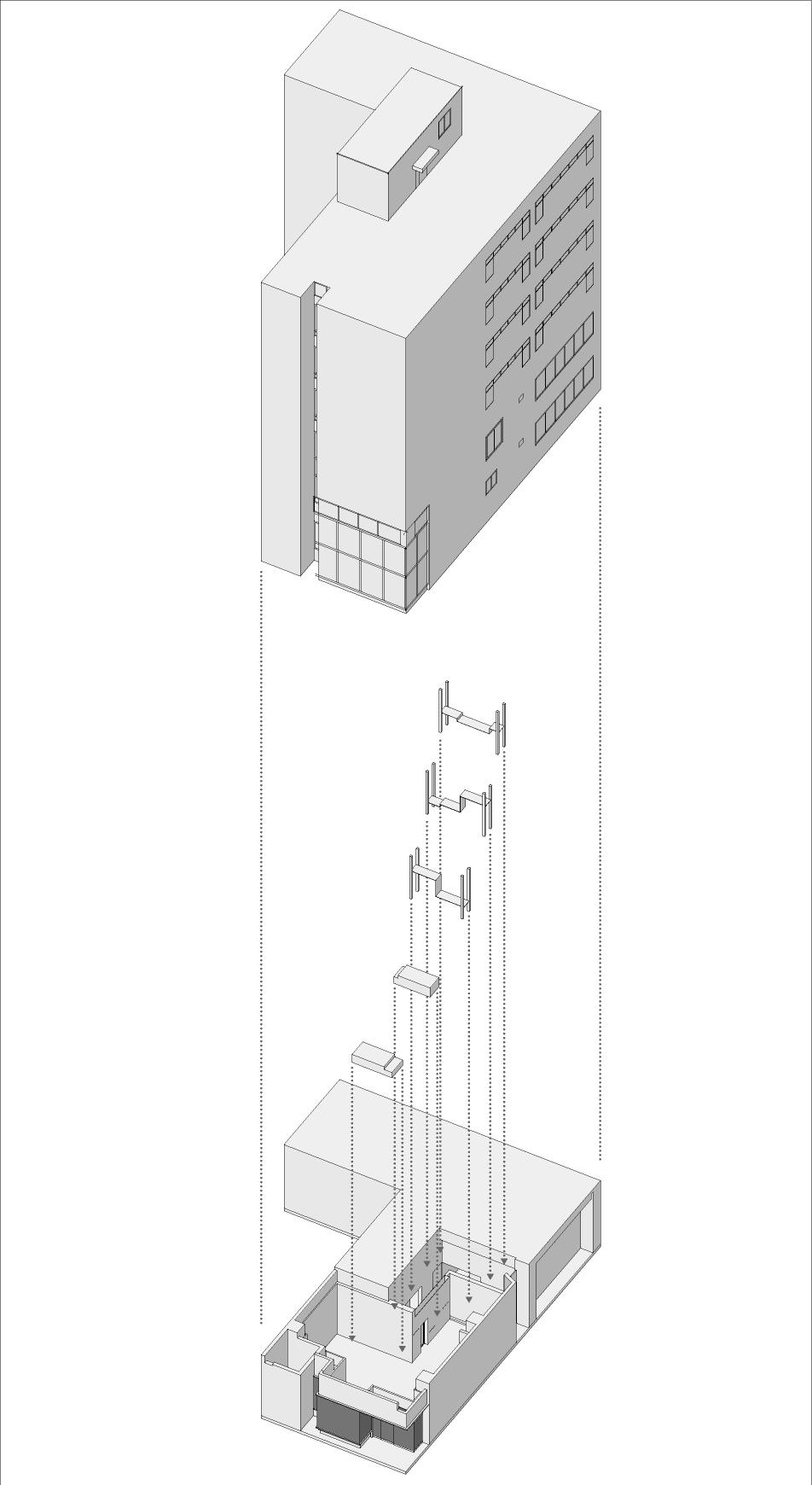 Structure Diagram with whole building Ryuichi Sasaki/Sasaki Architecture + Rieko Okumura/Atelier O}