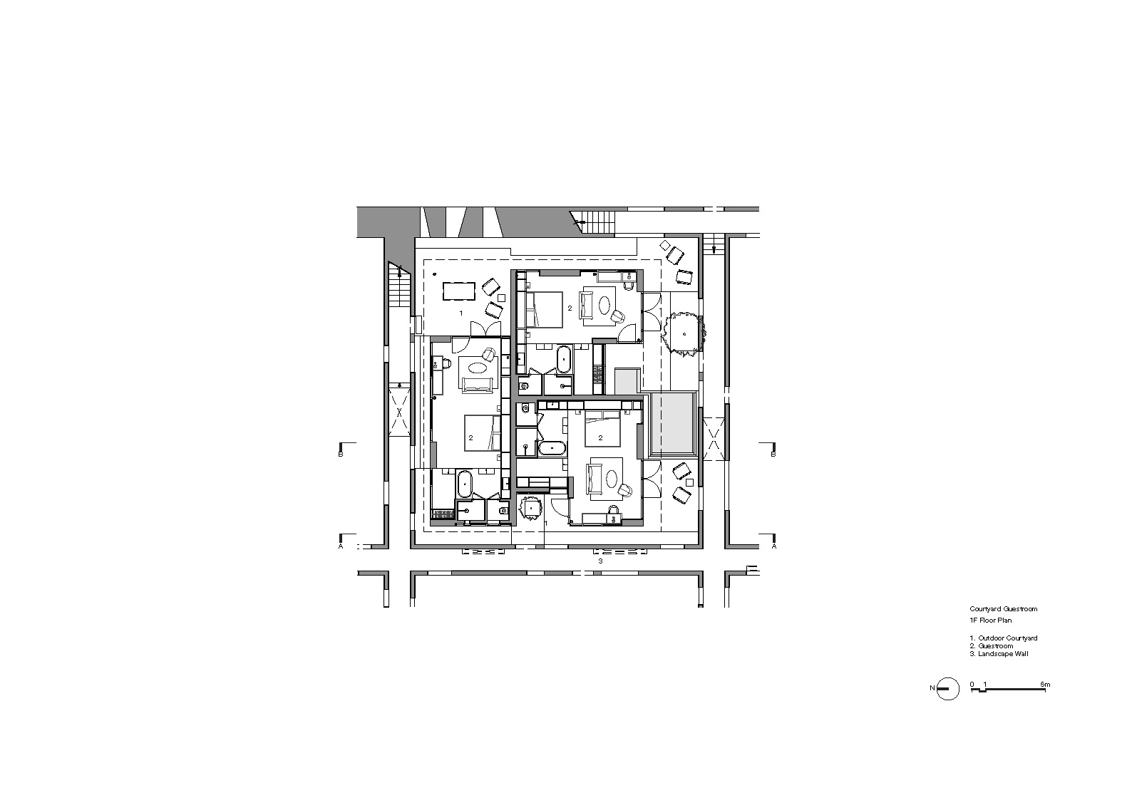 Courtyard Guestroom Plan Neri&Hu Design and Research Office}