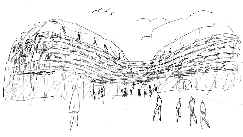 sketch, pencil on paper Michele De Lucchi}