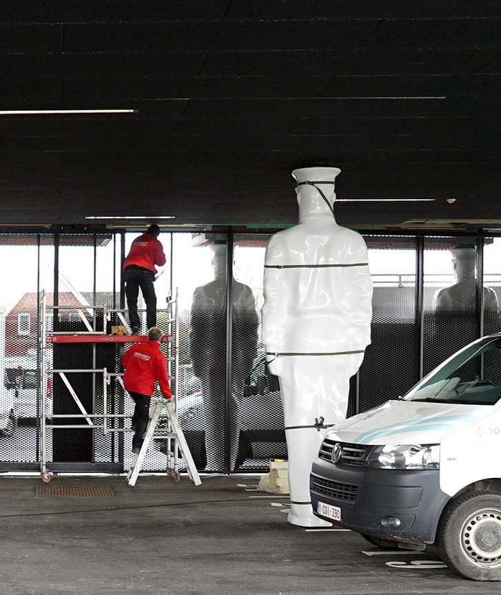 Atlantes Statue Installation ORG Permanent Modernity}