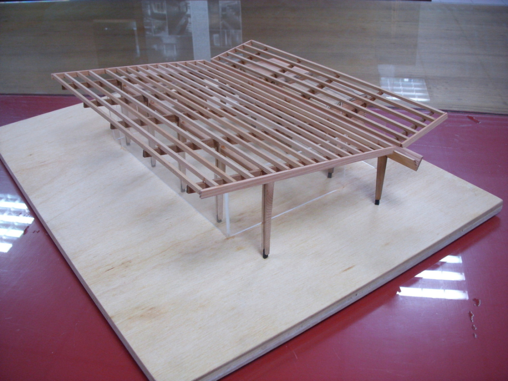 Wood structure model of restaurant }
