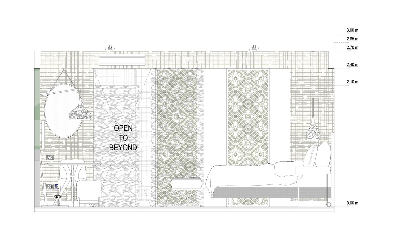 Sezione-prospetto King Room Studio KWG}