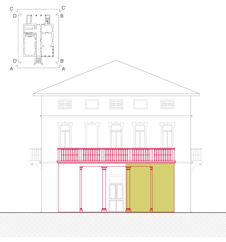 Facciata Nord: ristrutturazione ed ampliamento di portico e terrazza Lucchini Architetti}