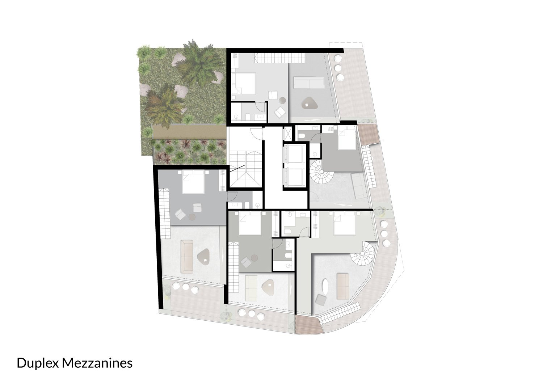 Duplex Floor - Mezzanines }