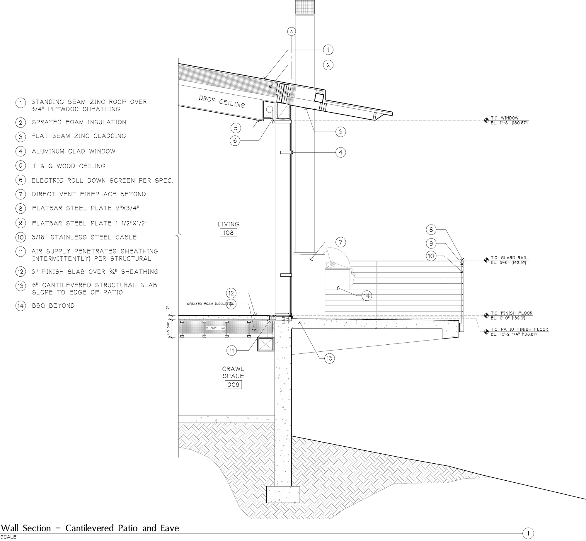 Wall Section - Cantilevered Patio }