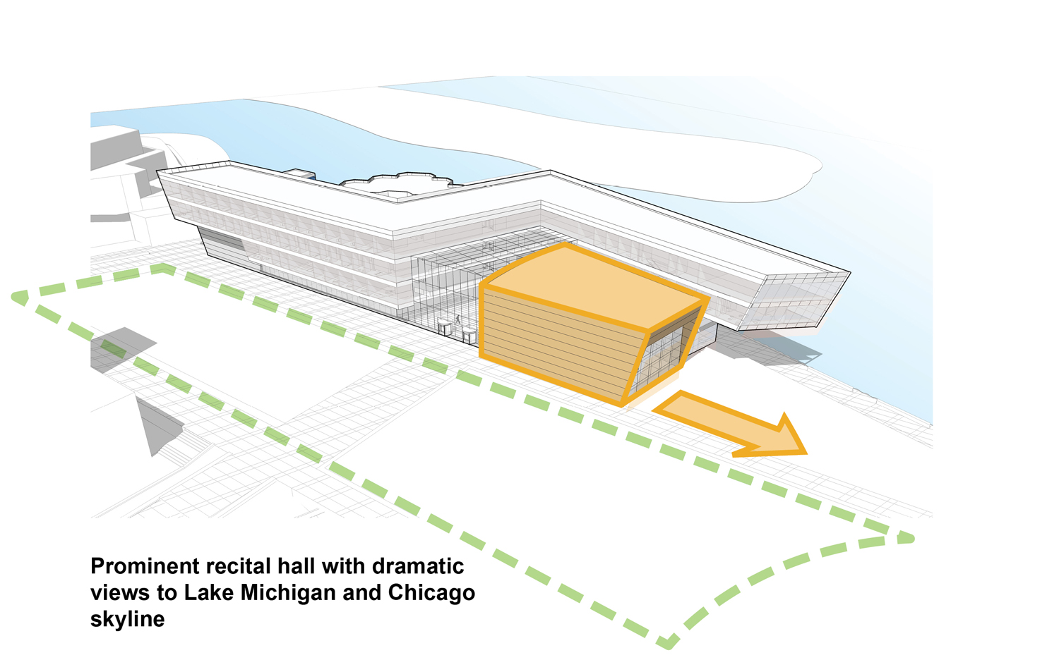 Planning Diagram - Prominent recital hall with dramatic views to Lake Michigan and Chicago skyline Goettsch Partners}