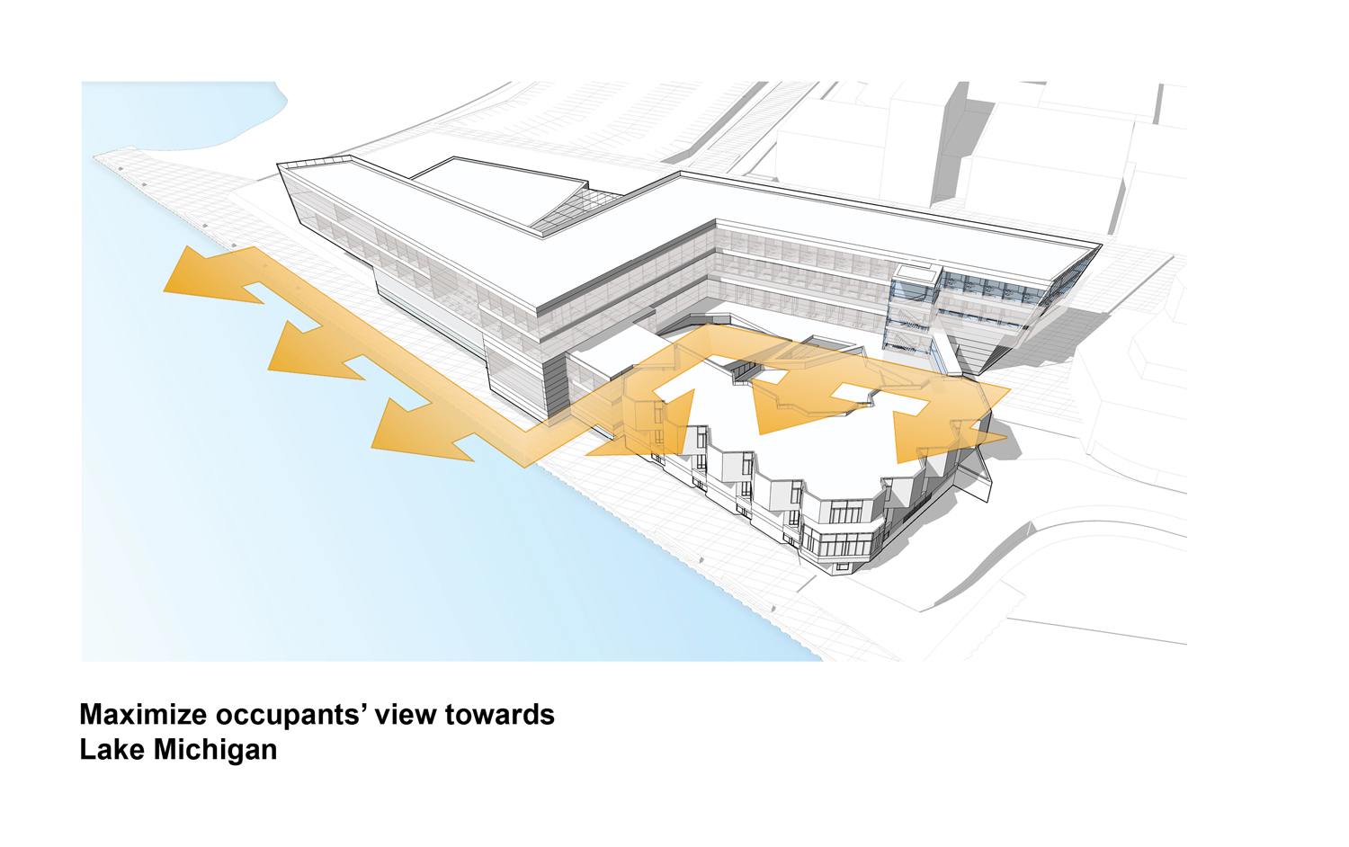 Planning Diagram - Maximize occupants' view toward Lake Michigan Goettsch Partners}