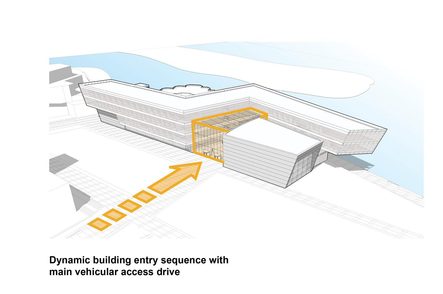 Planning Diagram - Dynamic building entry sequence with main vehicular access drive Goettsch Partners}