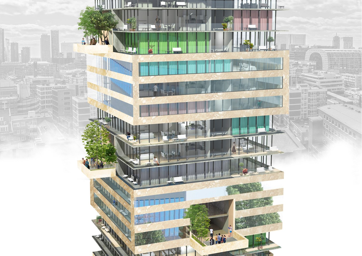 rendering: An image of the buidling at bird's eye level