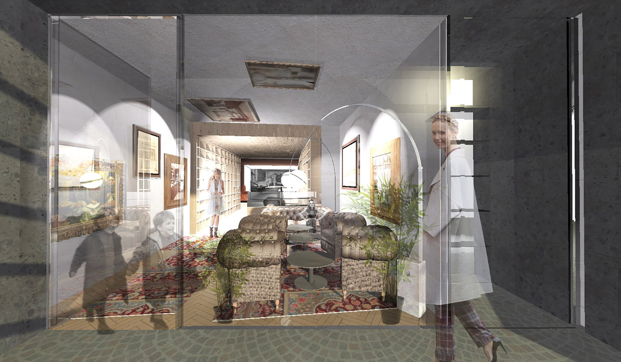 rendering - entrance & living room }