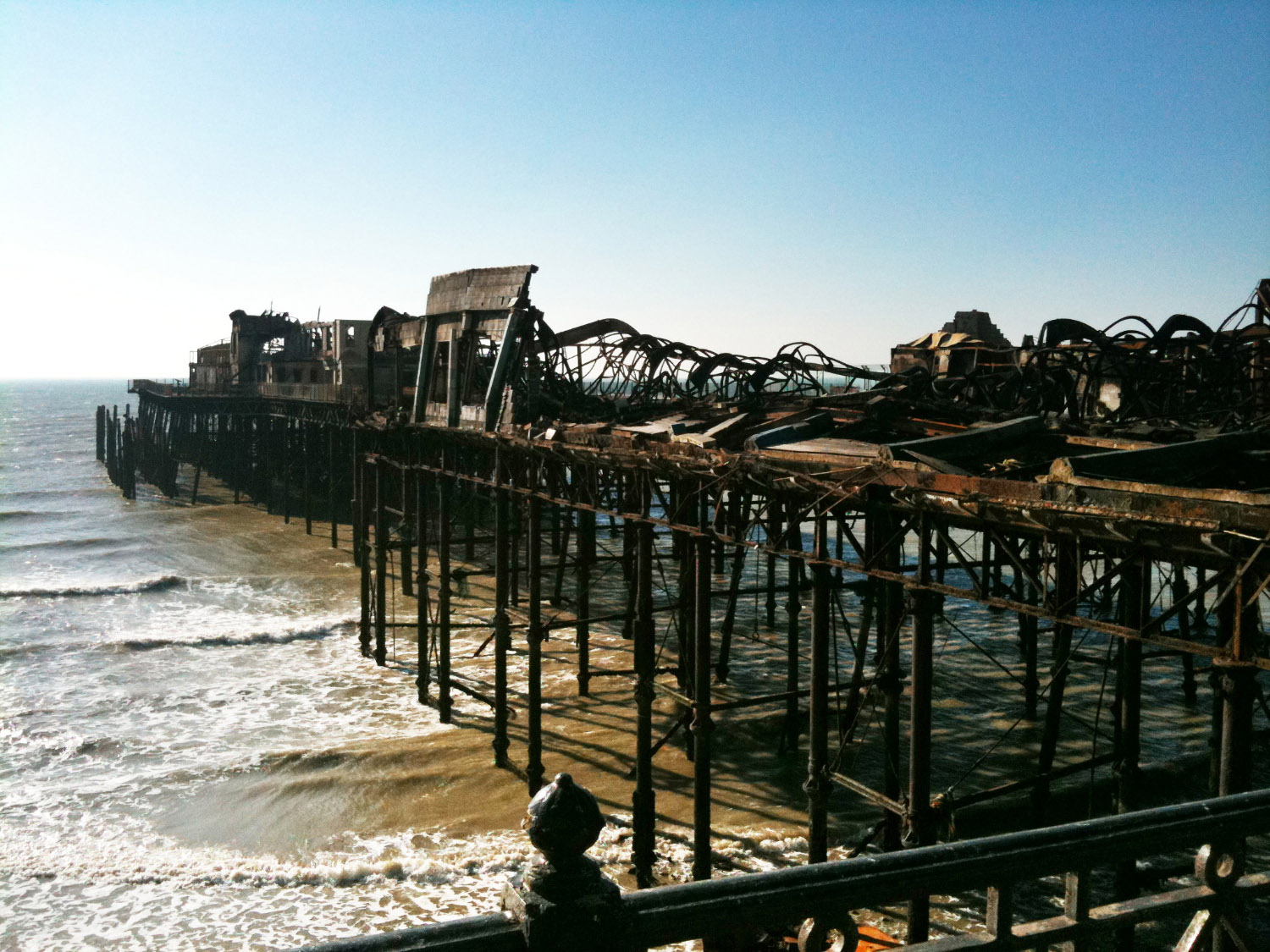 Hastings Pier post remains of 2010 fire