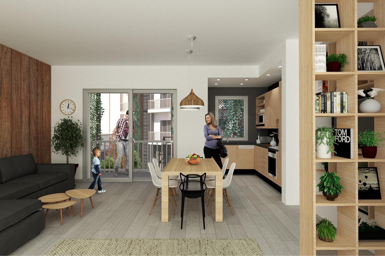 Vista di un soggiorno rigenerato - Progetto Mei e Pilia Ingegneri Associati}