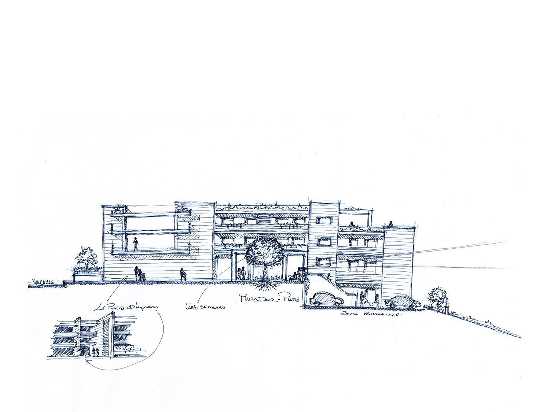 Schizzo della sezione sulla Piazza di Fedro