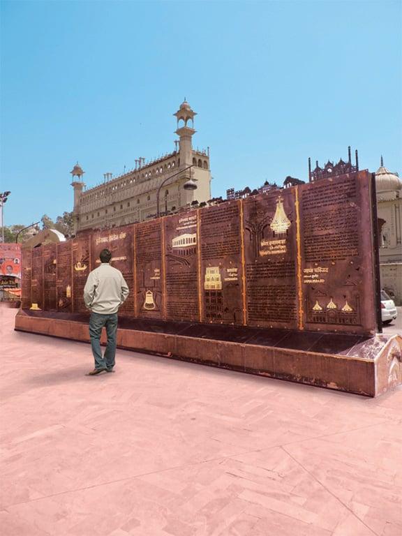 Informative sculpture celebrating the monuments Andre J Fanthome