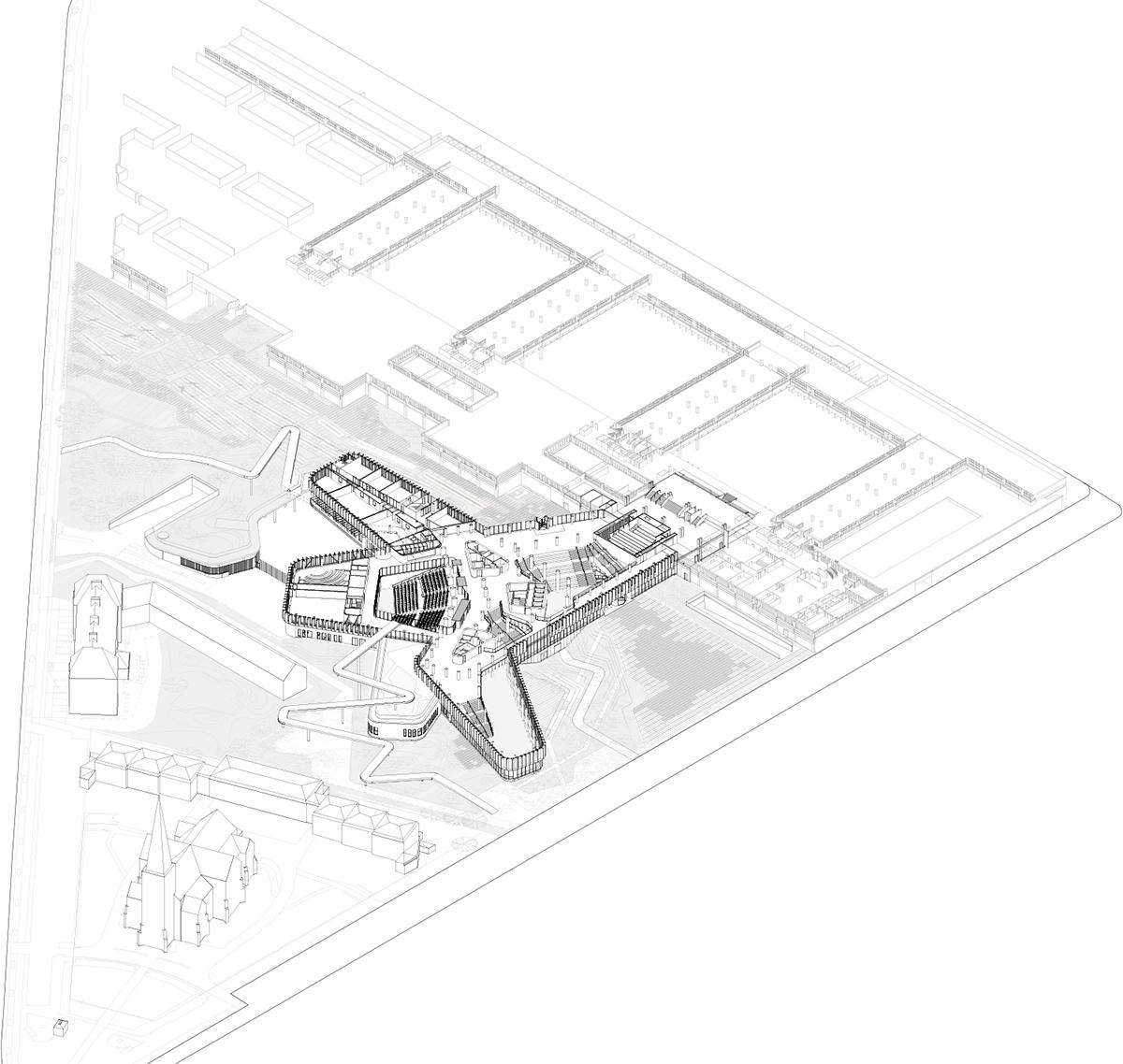 Isometric drawing base level C.F. Møller Architects}