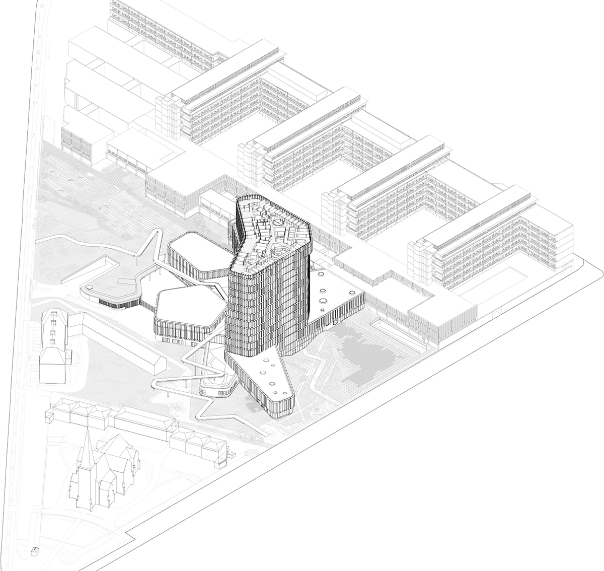 Isometric drawing tower level C.F. Møller Architects}