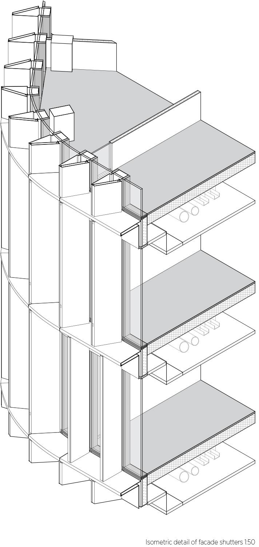 Isometric facade detail C.F. Møller Architects}