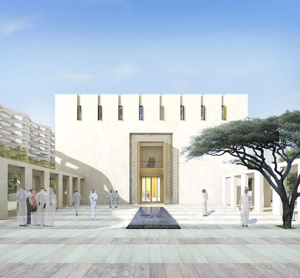 Jumaa Mosque Courtyard Visulisation©Hayes Davidson }