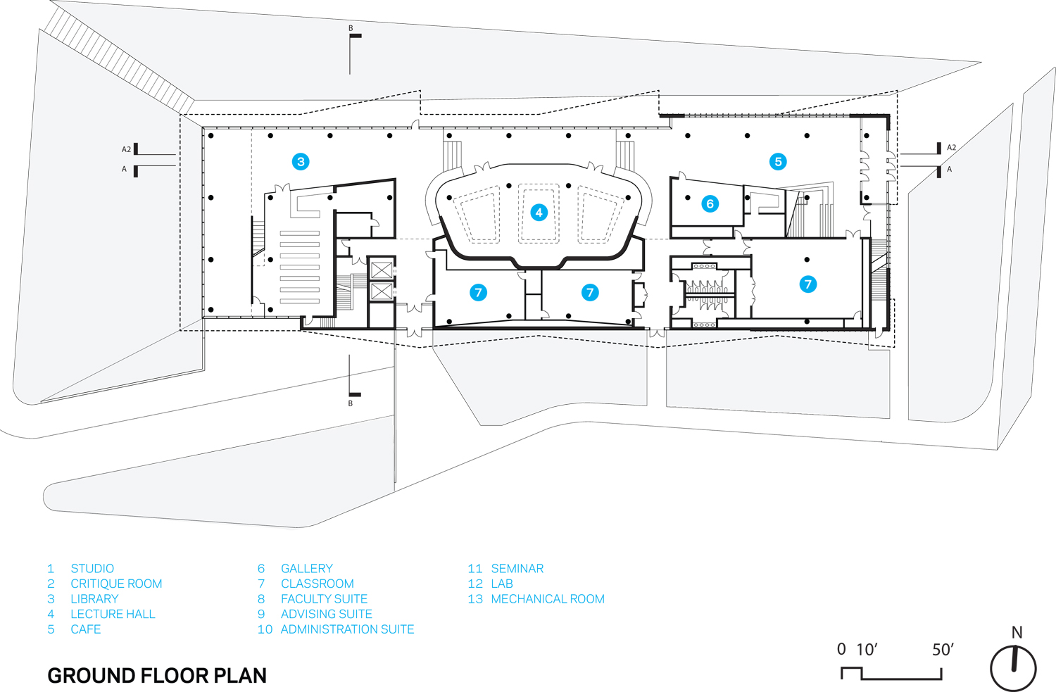 Kent State Center for Architecture and Environmental Design, Ground Floor Floorplan. The groundfloor supports a broad range of spaces including a cafe, gallery, glass-enclosed, multi-purpose lecture hall,  Weiss/Manfredi}