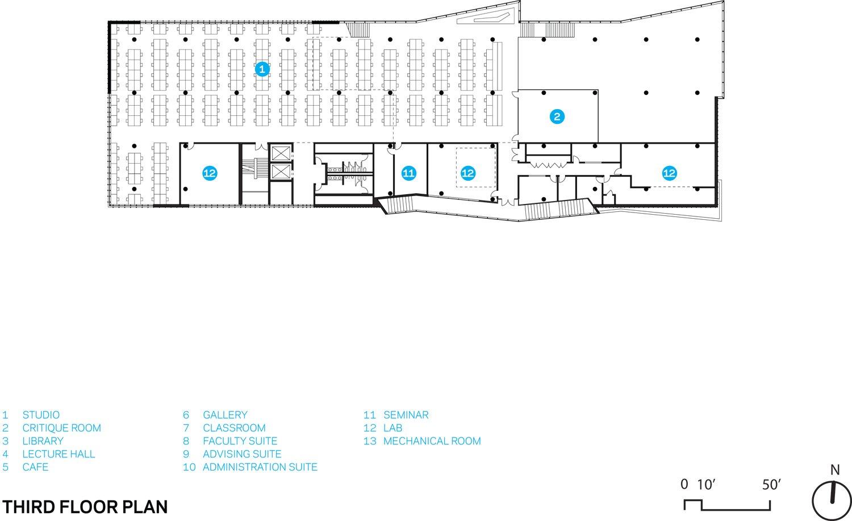 Kent State Center for Architecture and Environmental Design, Third Floor Floorplan Weiss/Manfredi}