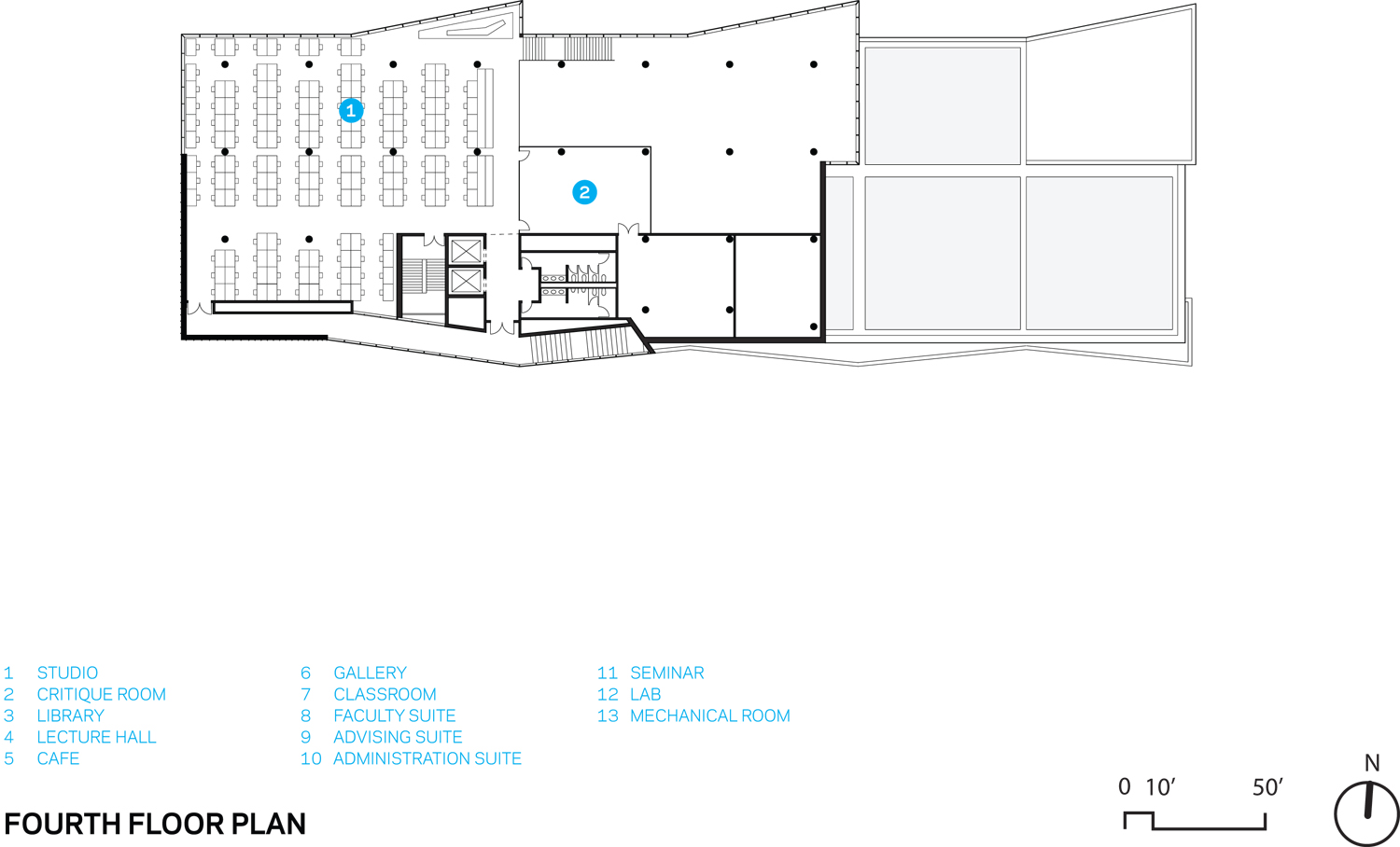 Kent State Center for Architecture and Environmental Design, Fourth Floor Floorplan Weiss/Manfredi}