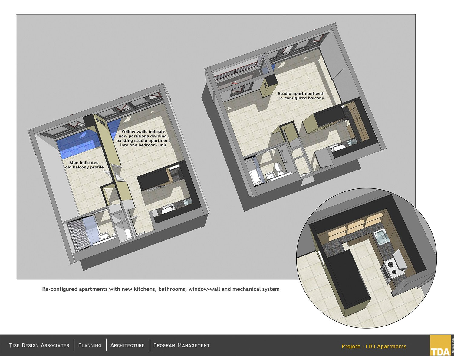 Re-configured apartments with new kitchens, bathrooms and mechanical system Tise Design Associates}