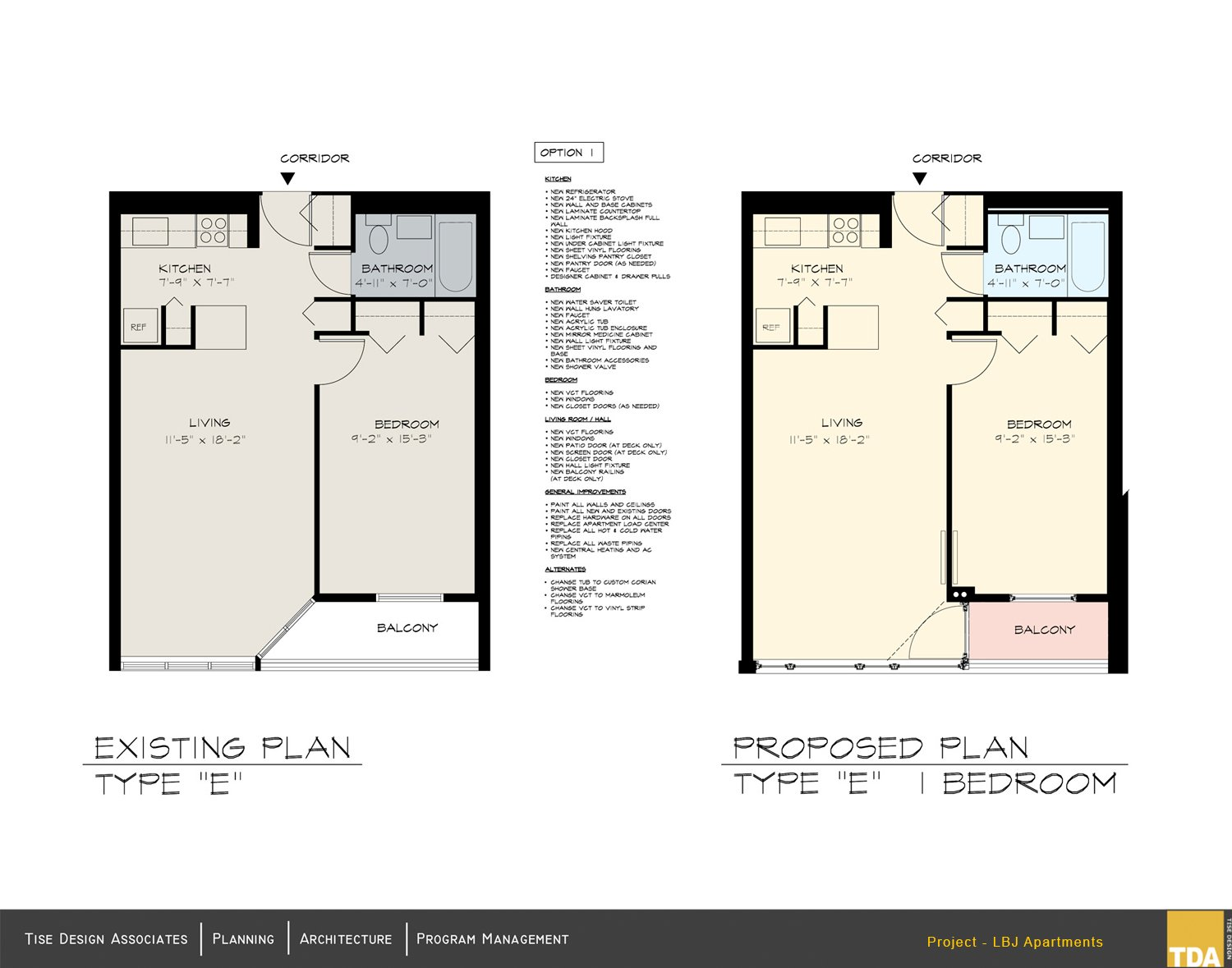 Existing Plan - Type E and Proposed Plan - Type E 1 Bedroom Tise Design Associates}
