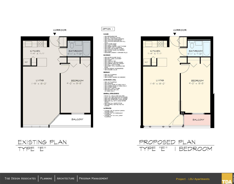 Existing Plan - Type E and Proposed Plan - Type E 1 Bedroom Tise Design Associates}