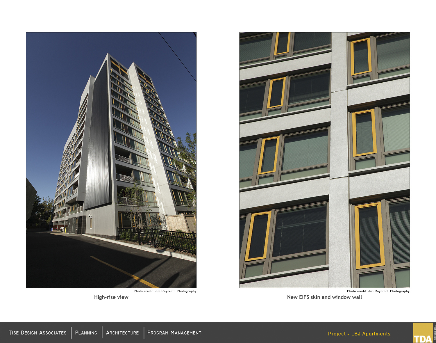 Exterior High-rise view and New EIFS skin and window wall (after renovations) Jim Raycroft Photography