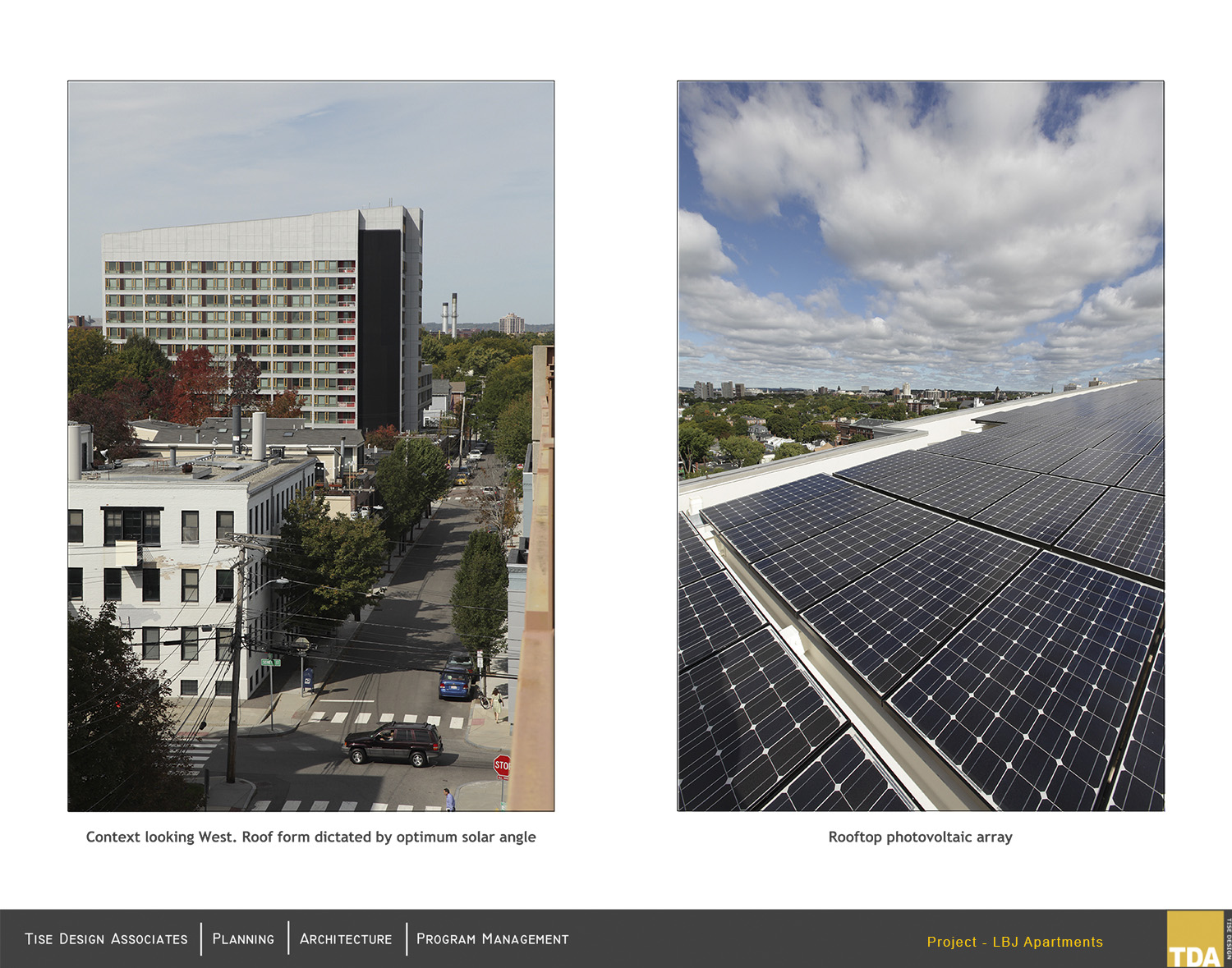 Contect looking west - roof form dictated by optimum solar angle. Rooftop photvoltaic array Jim Raycroft Photography