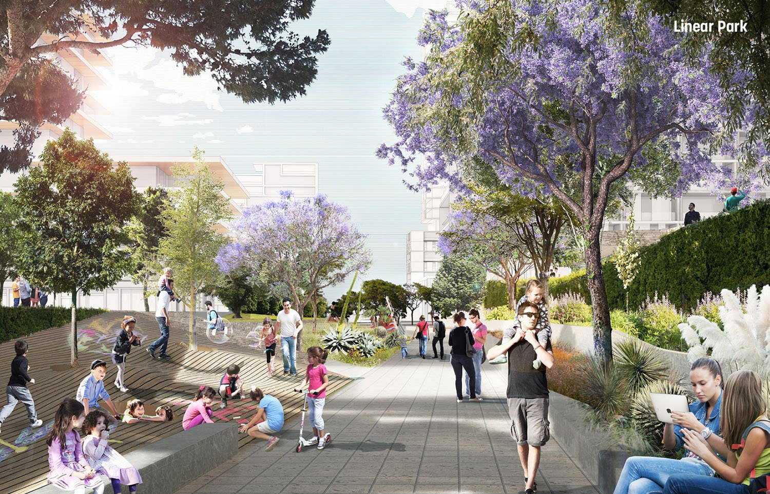 Linear park draws people to the network of public spaces }