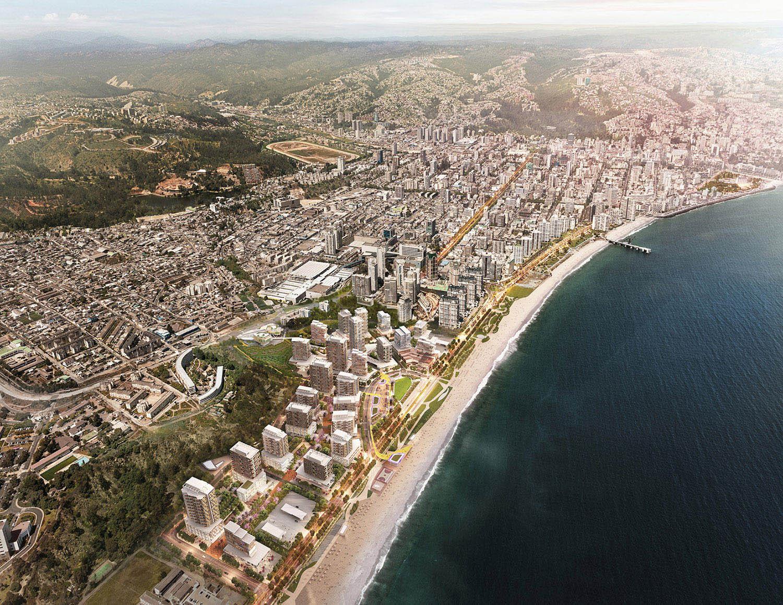 View of Las Salinas in the context of Vina del Mar }
