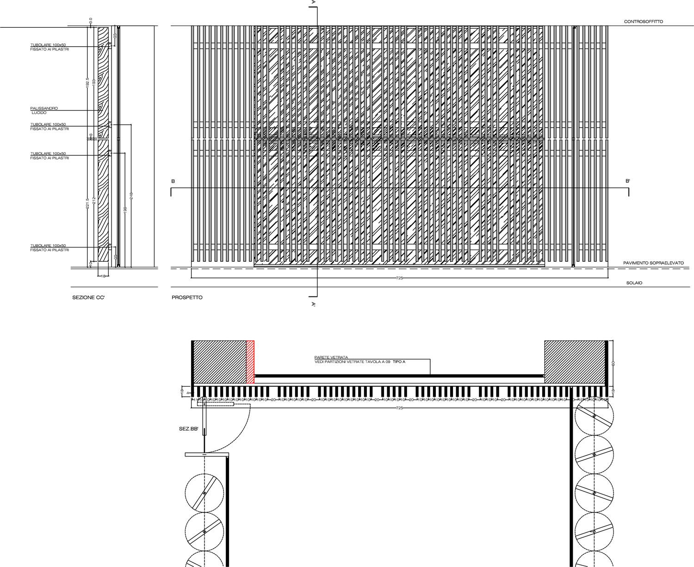 Dettaglio del grigliato di legno Berarducci Architecture}