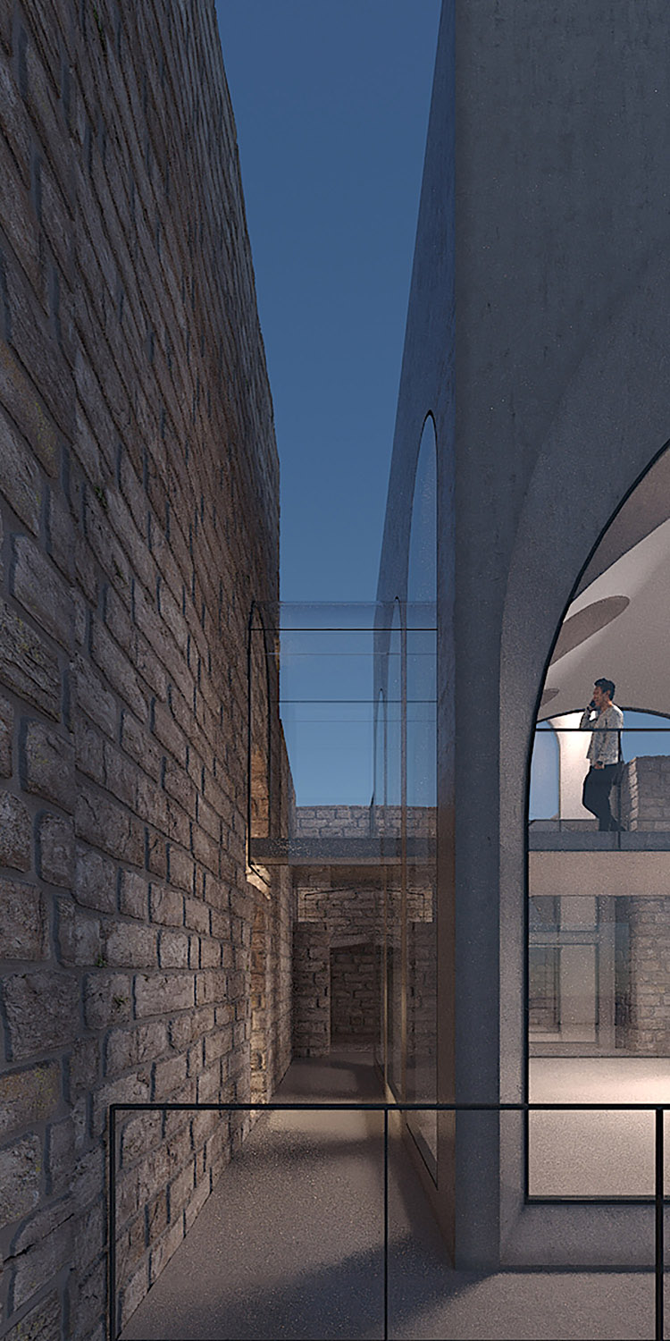 The extensions in connection with the existing structure.  TABANLIOGLU ARCHITECTS