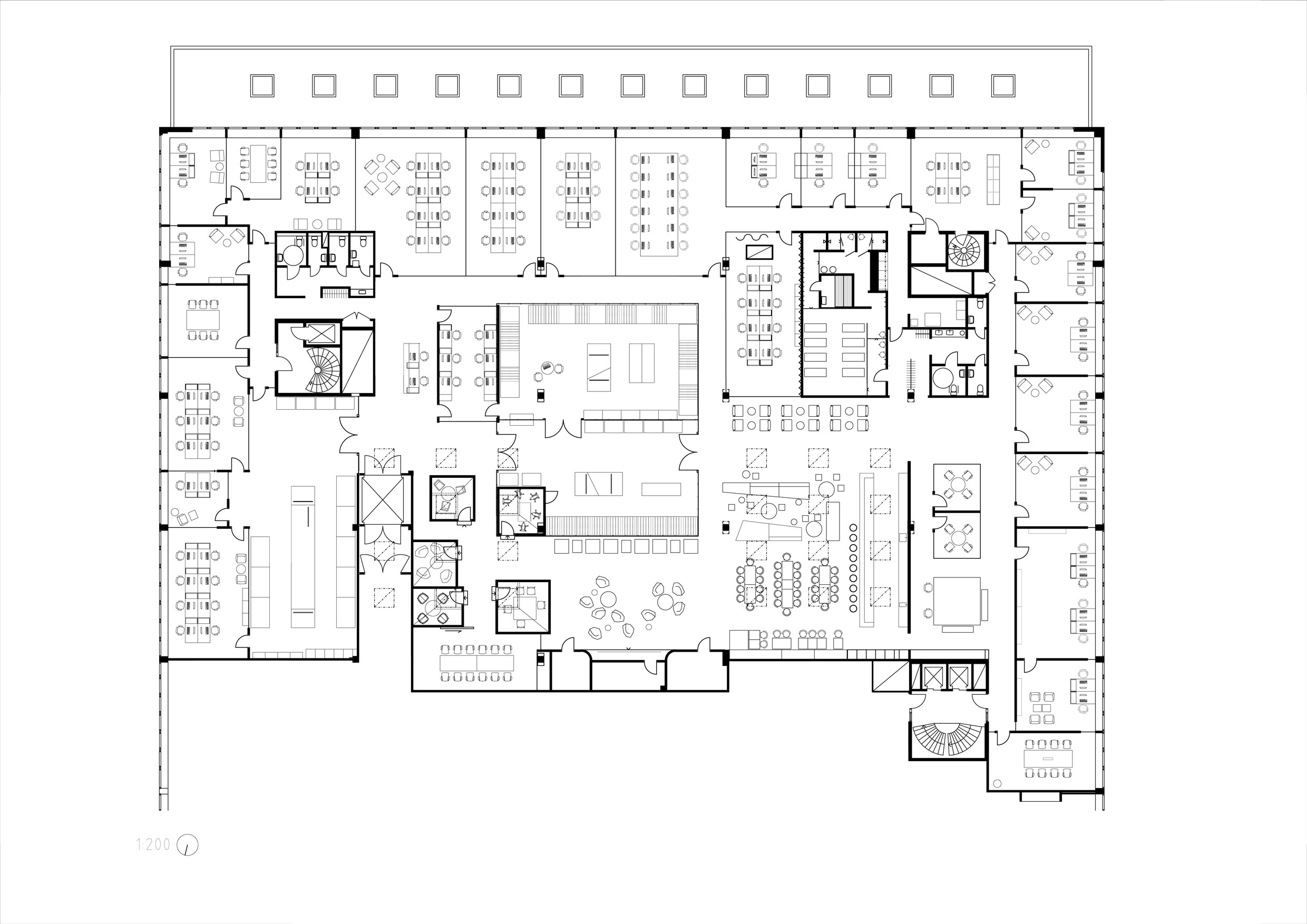 Main floor plan without room keys. }
