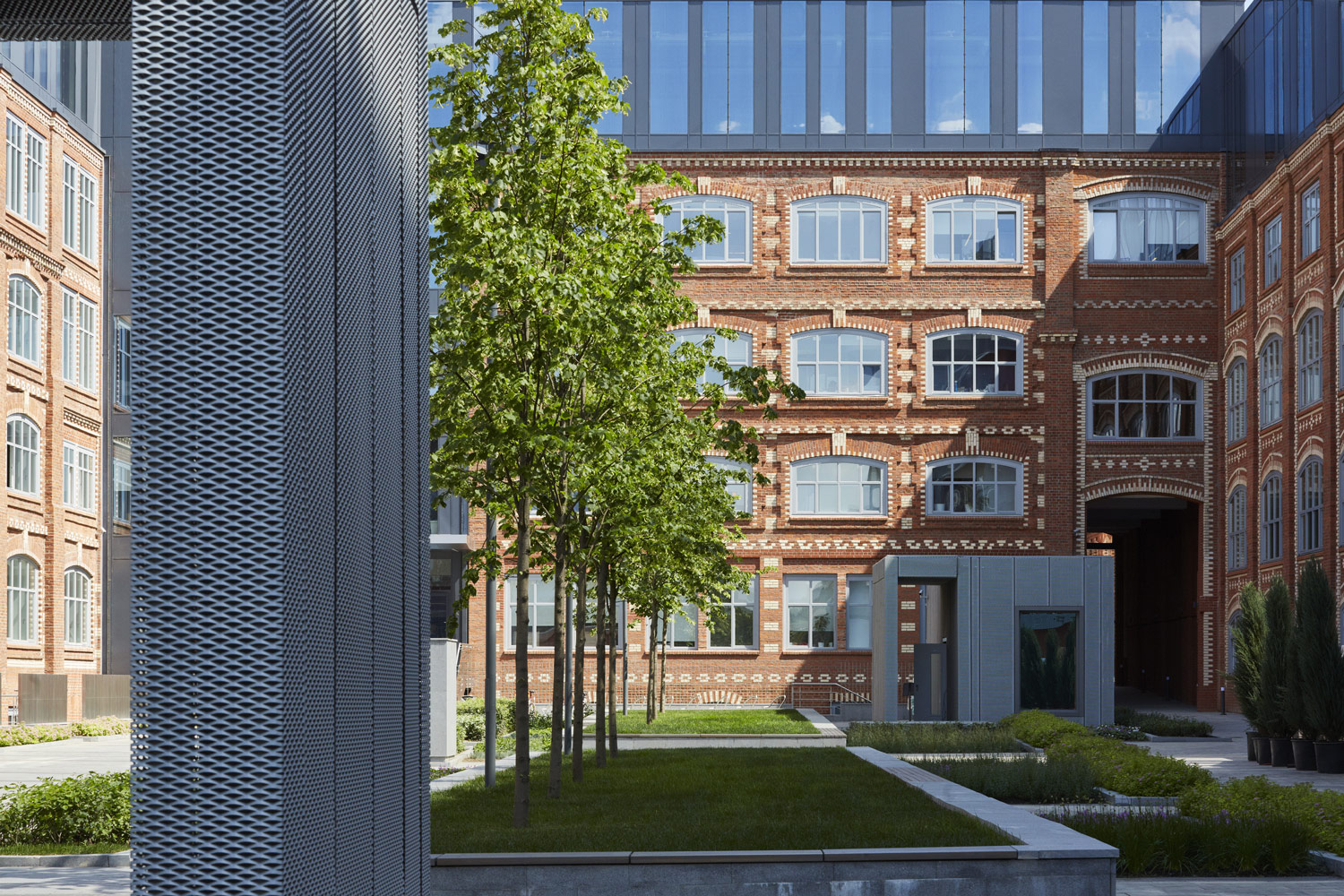 Detailed view of the restored external brickwork and public external space