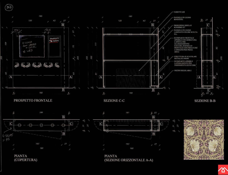 Museo Villa Bernasconi: studio per show box / totem Luca Moretto architetto}