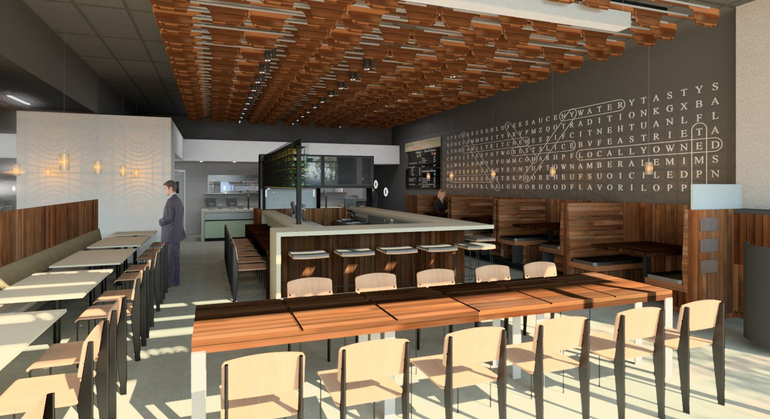 NYPD Tempe Gateway- Dining Room towards Kitchen Rendering 01 }
