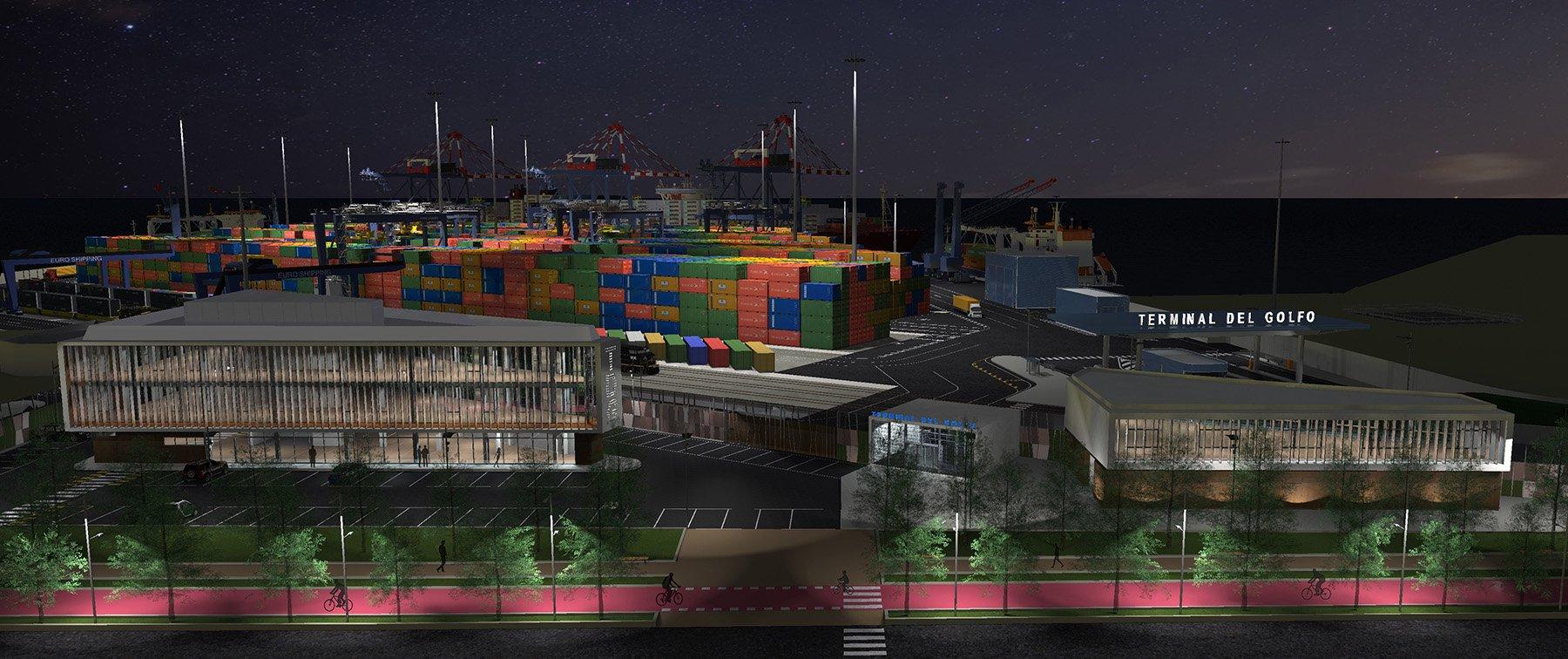 Vista notturna dell'area del personale verso la città