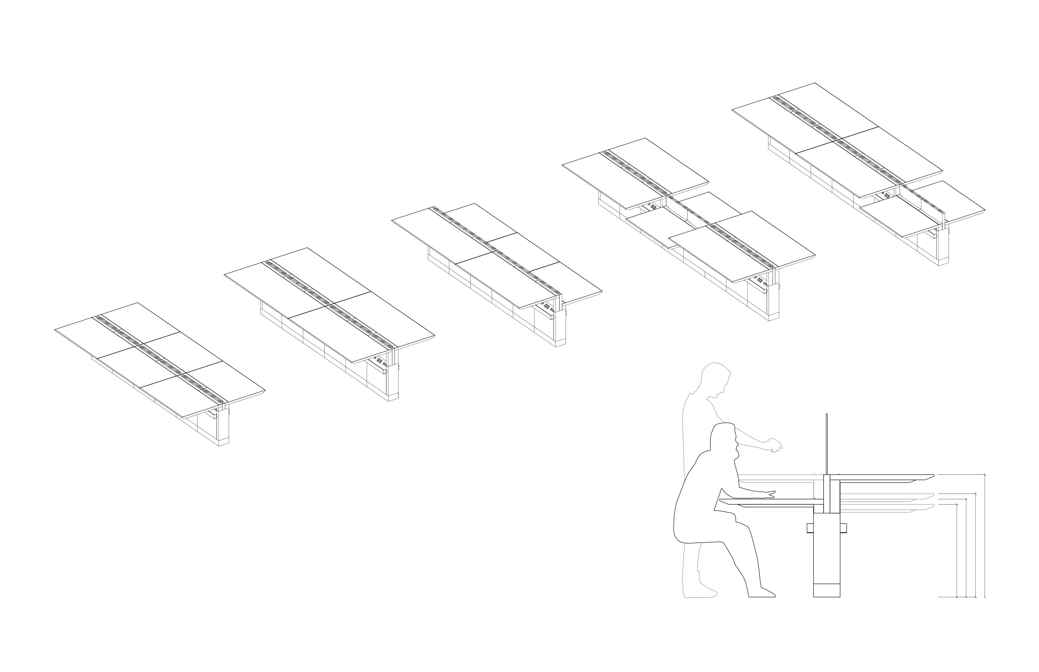 Adjustable settings / configurations through the fixed spine Toshiko Mori Architect}
