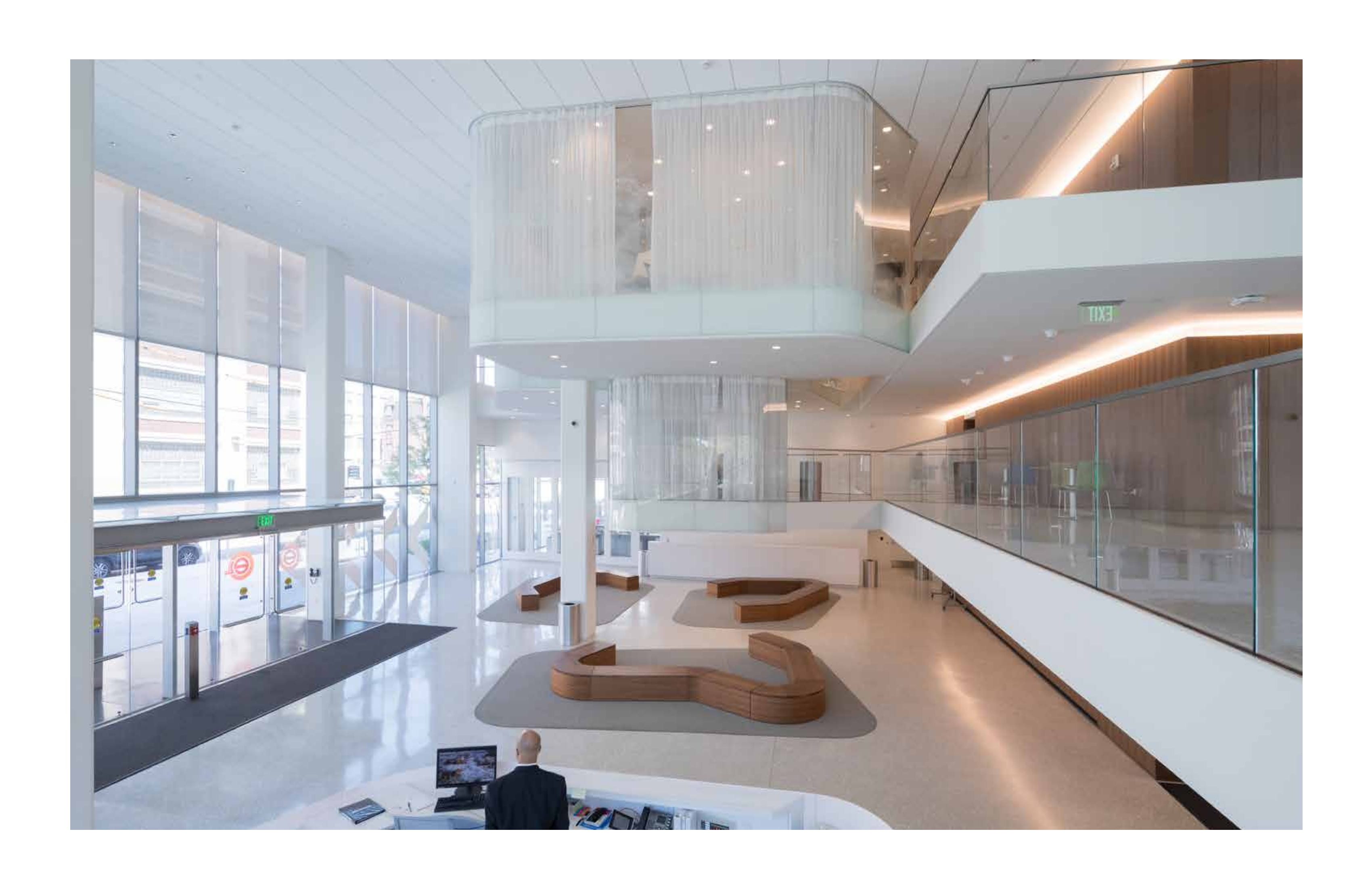 View of lobby with hanging conference rooms Iwan Baan