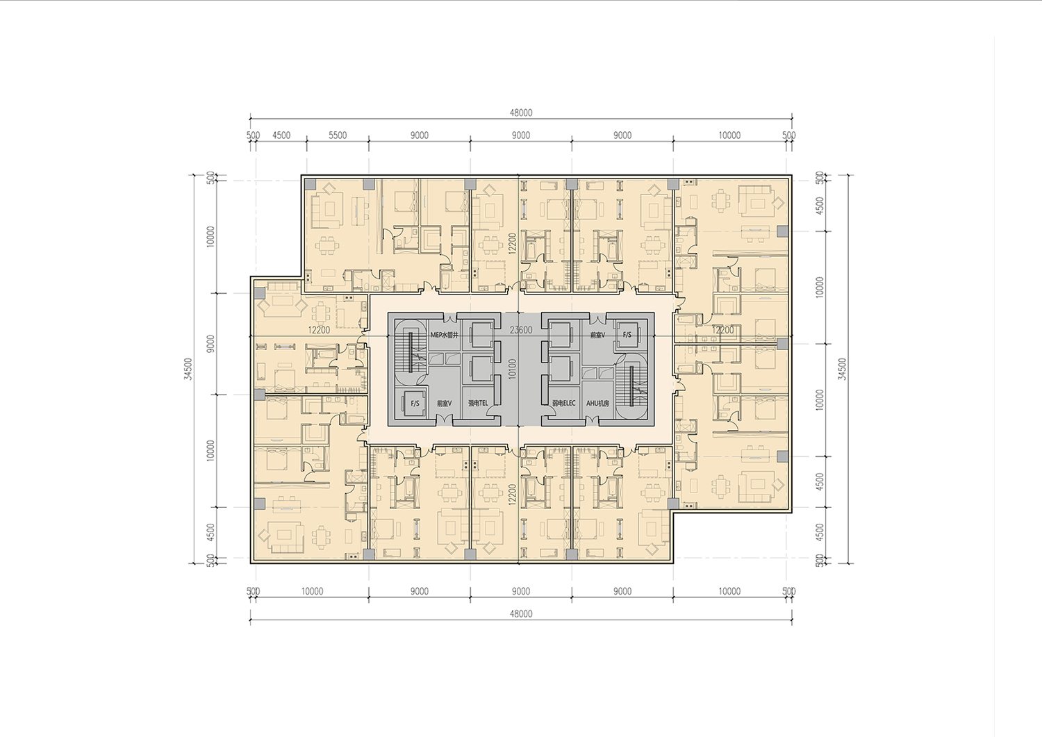 Typical Tower Appartment Floor Plan }