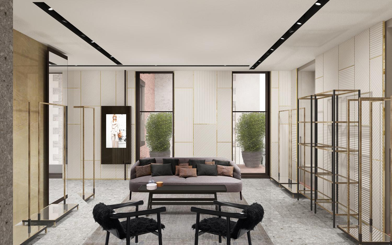 Contemporary lacquered panels render view. Duccio Grassi Architects}