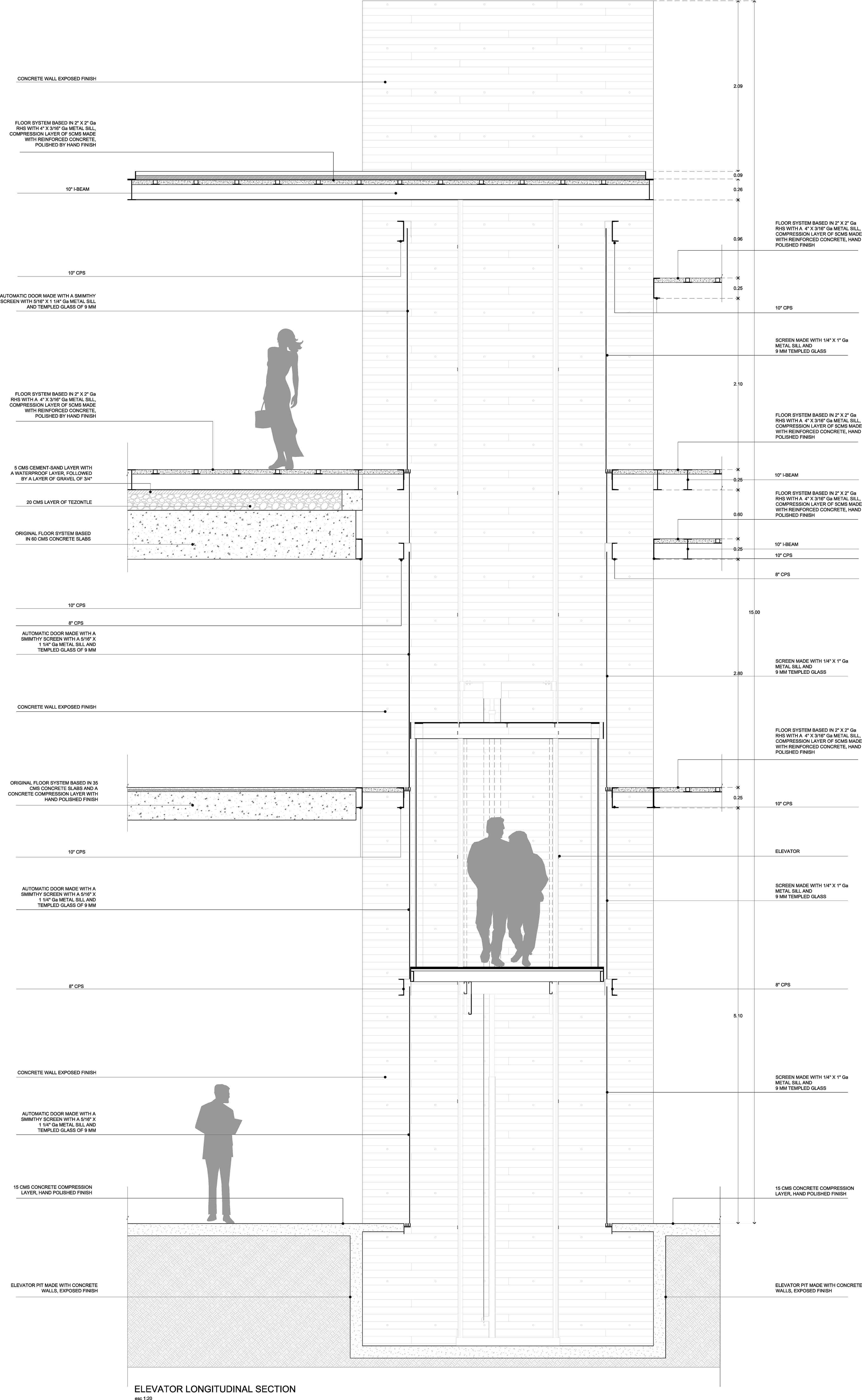 Elevator longitudinal section  }