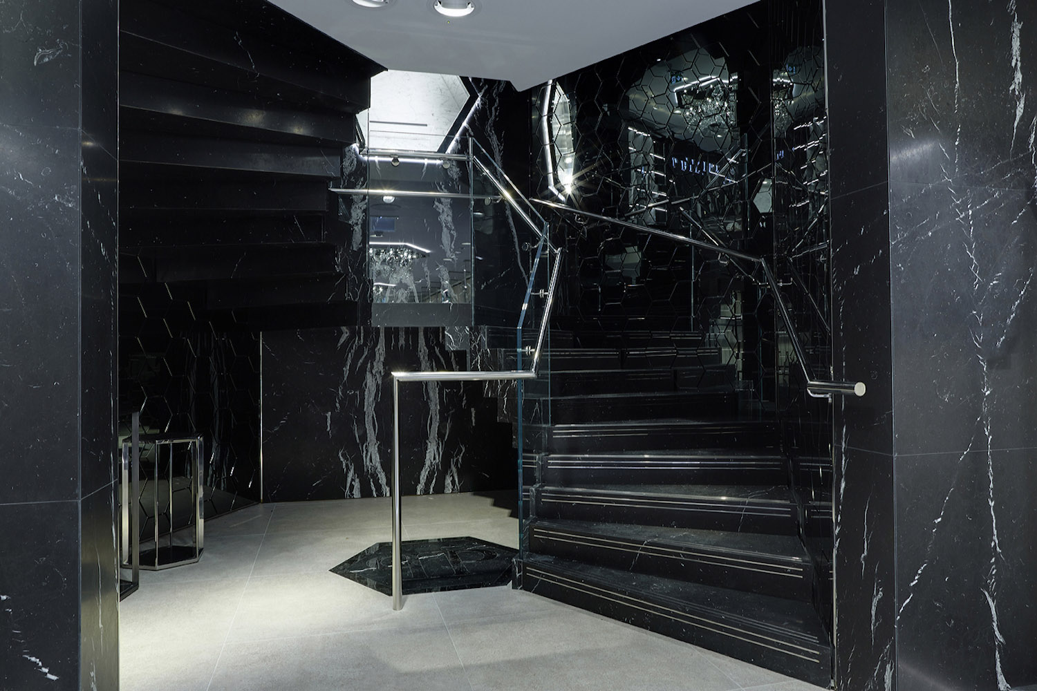 Philipp Plein London: staircase lower front view