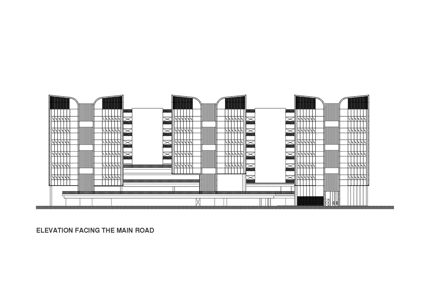 Elevation of East Wing facing Tampines Avenue 1 }