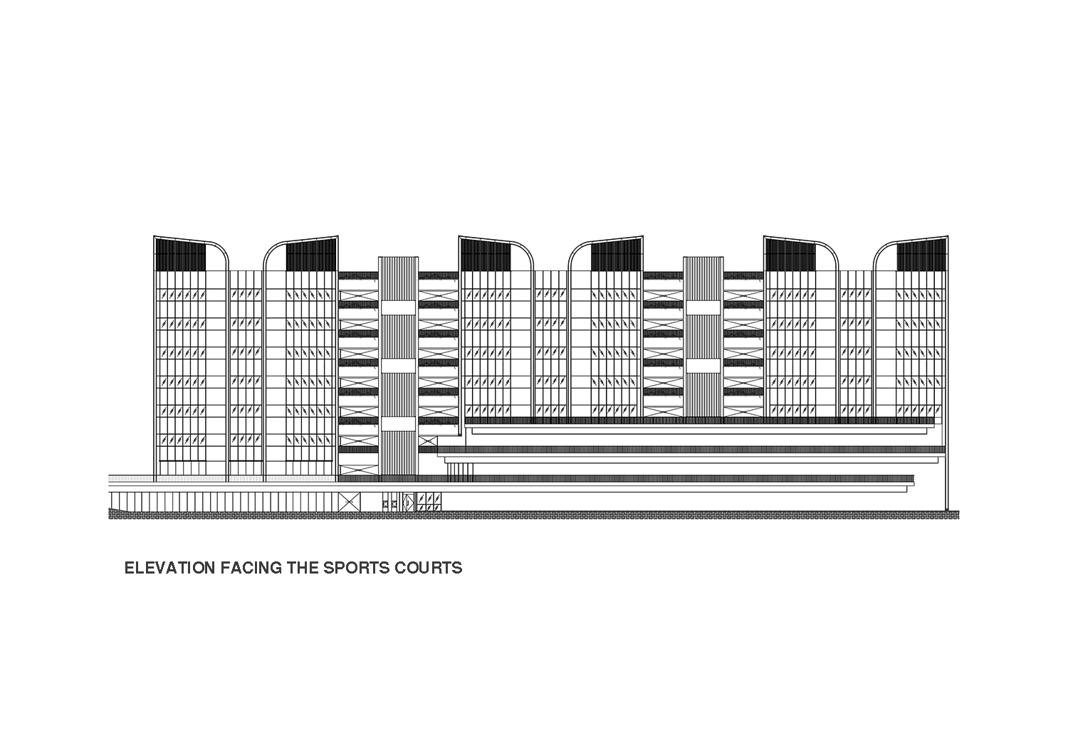 Elevation of East Wing facing the sports courts }