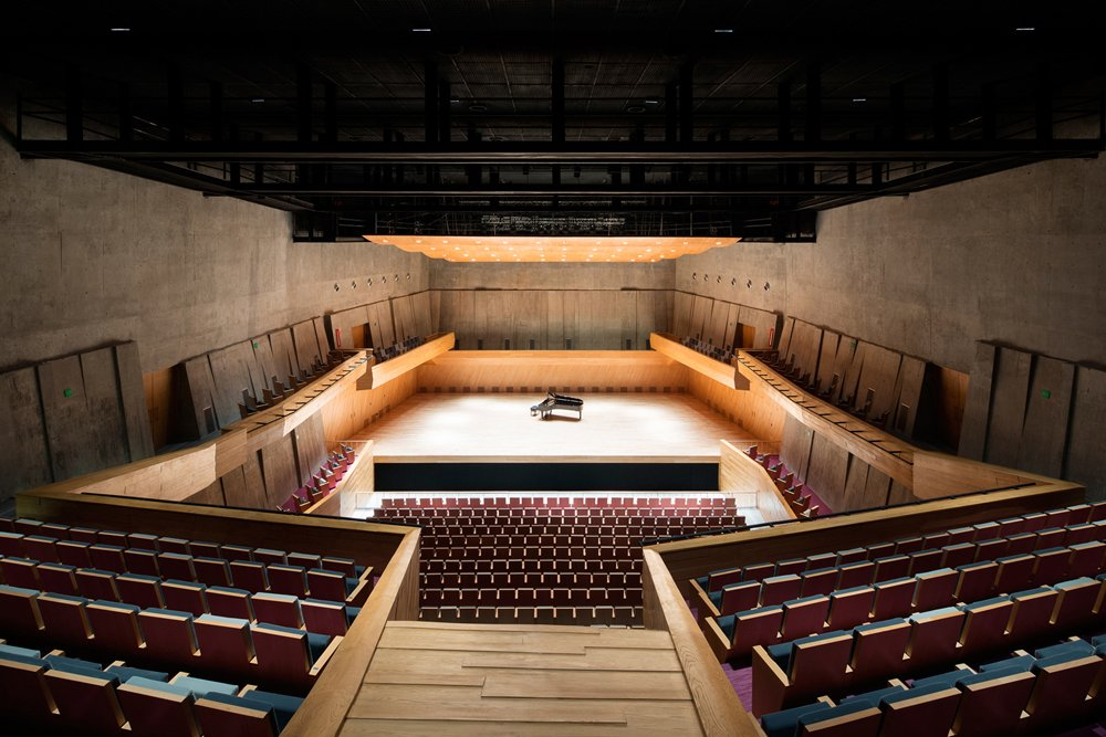 Concert Hall with orchestra piano on stage.  Paul Rivera