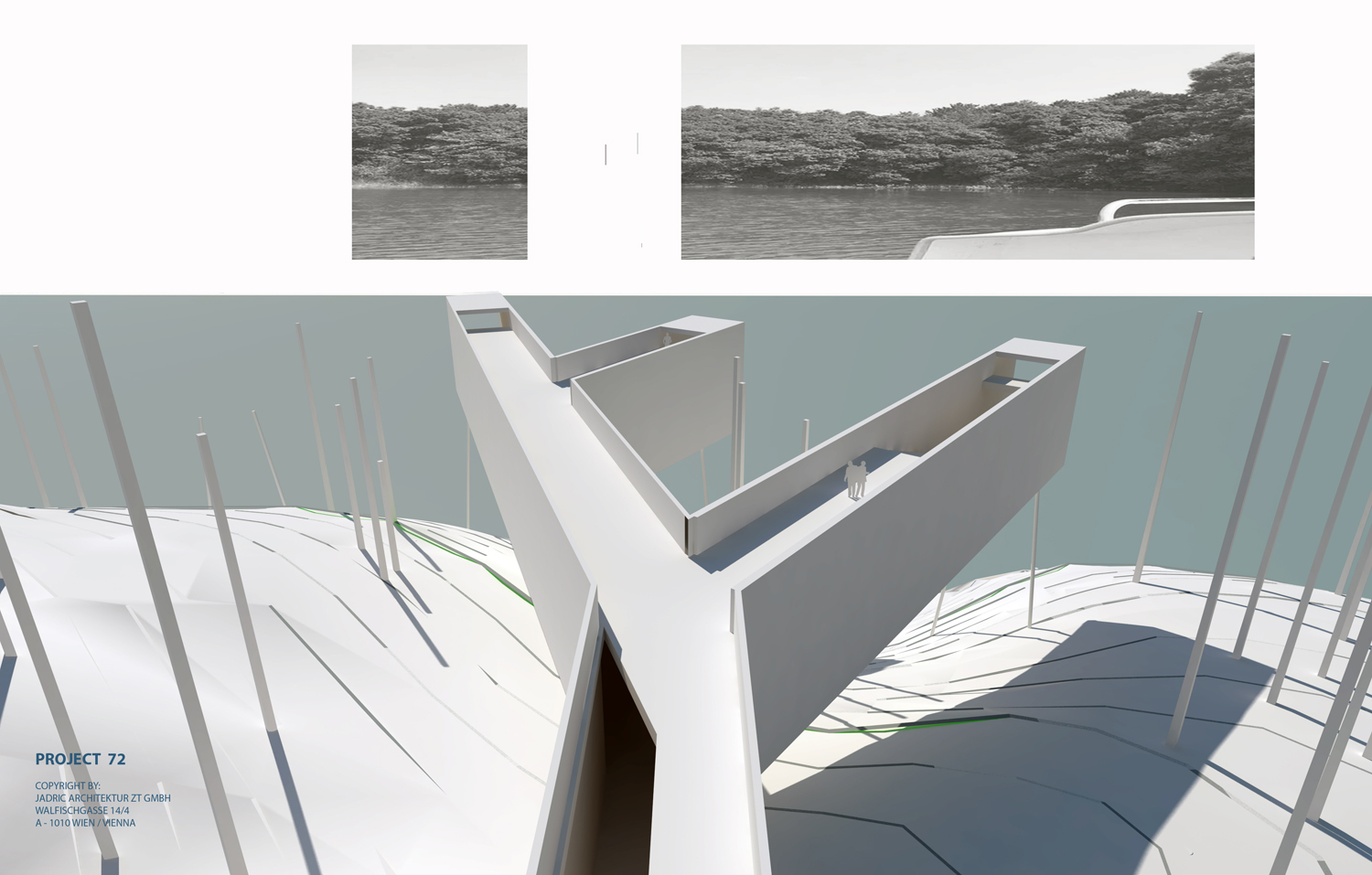 THE VIEW-CONCEPT SKETCH OF LABORATORY FOR VERNACULAR ARCHITECTURE AND ART & SKYWALK © 2018 JADRIC ARCHITEKTUR ZT GMBH - All Rights Reserved }