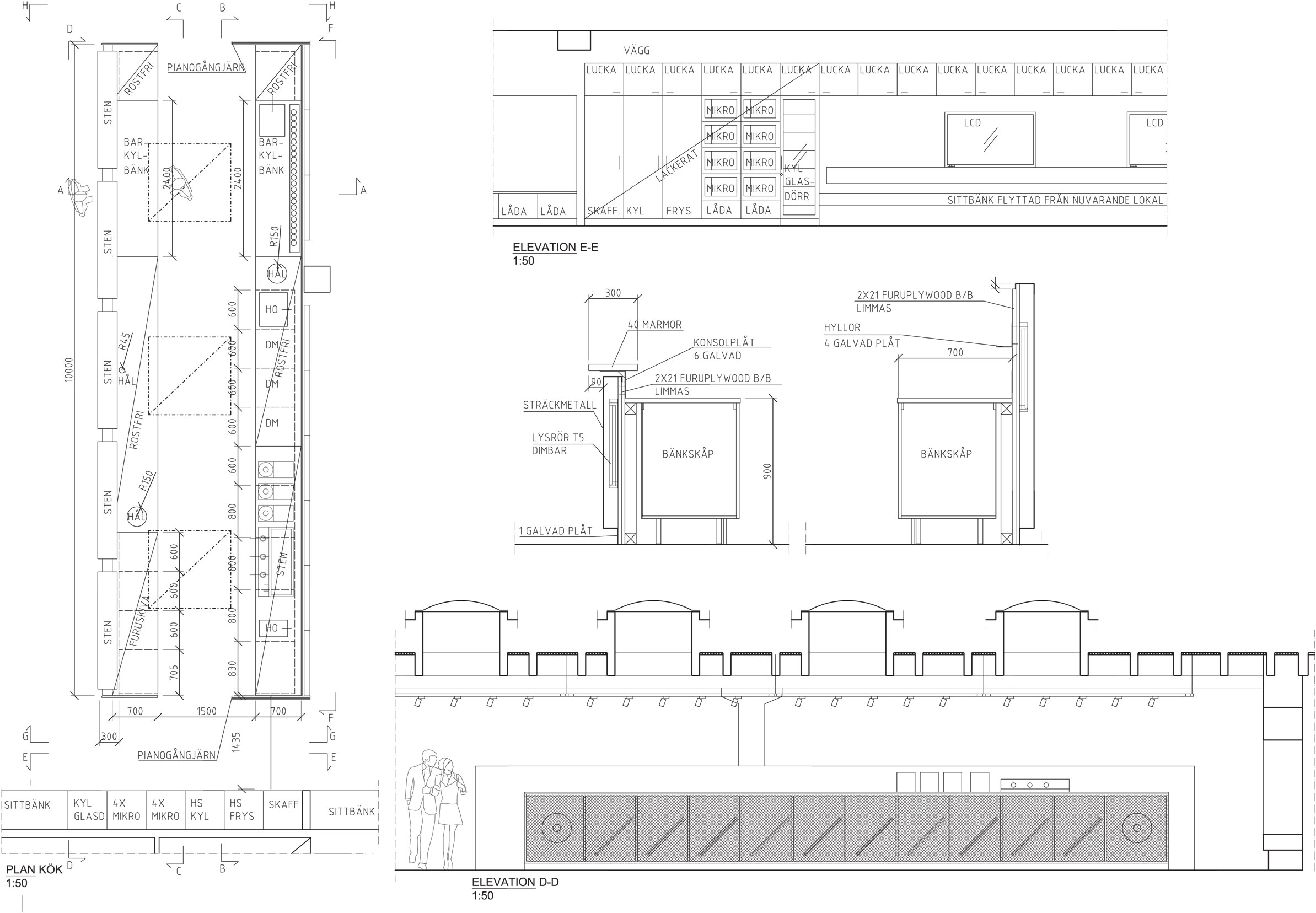 Elevation of bar and pentry.  }